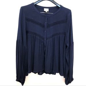 Caution To The Wind Navy Blue Long Sleeve Blouse M
